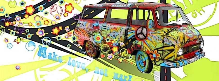 abstract volkswagen peace van facebook cover