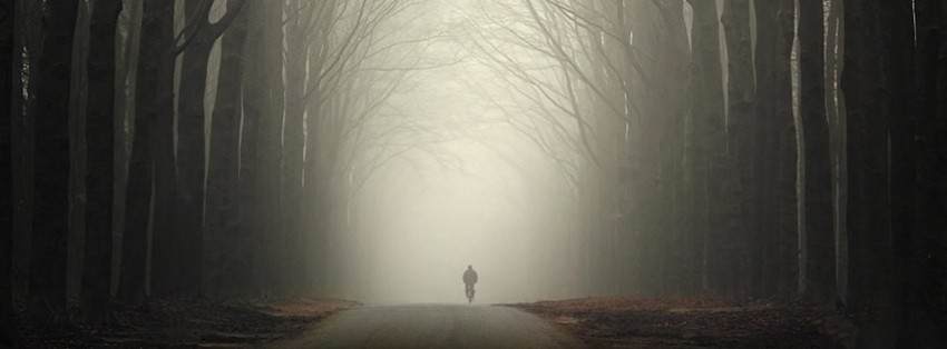 alone man on a mist road Facebook Cover timeline photo ...