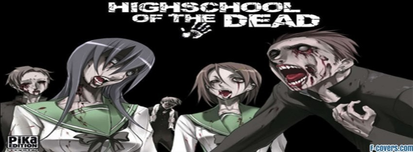 anime highschool of the dead zombies school girl facebook cover