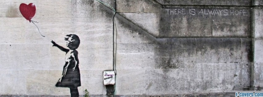 banksy street art balloon heart facebook cover
