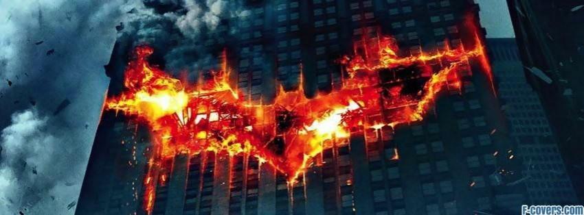 batman logo on fire in a building facebook cover timeline