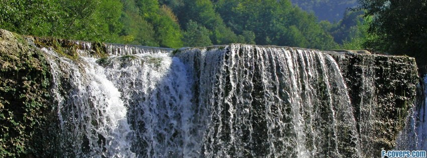 beautiful forest waterfall facebook cover
