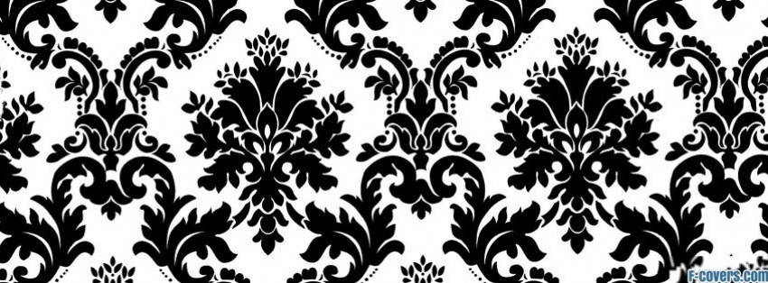 black and white floral pattern facebook cover