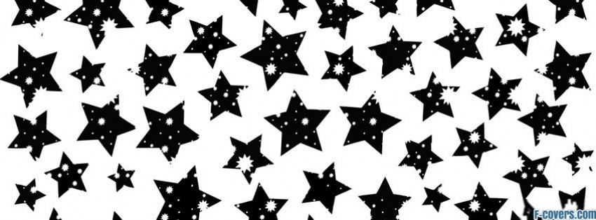black and white stars pattern facebook cover