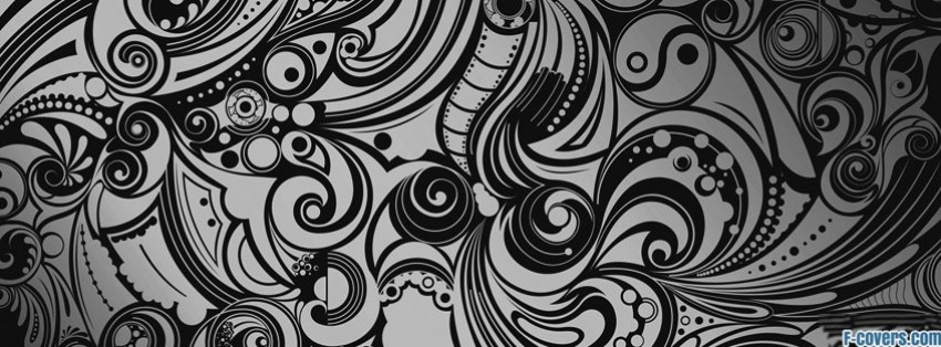 black and white swirl doodles facebook cover