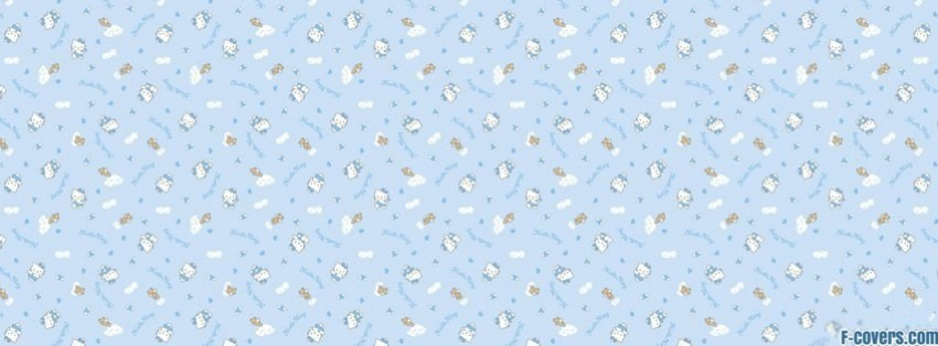 blue hello kitty pattern facebook cover