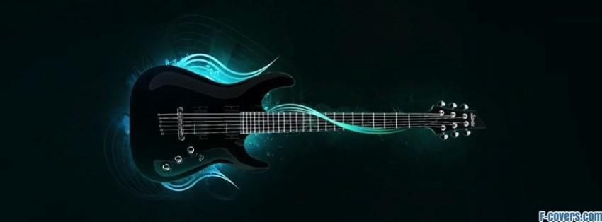 blue music neon lamp rock guitar Facebook Cover timeline ...