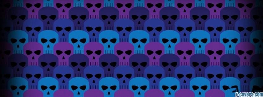 blue purple skulls pattern facebook cover