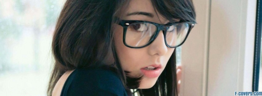 brunette hipster woman with glasses facebook cover