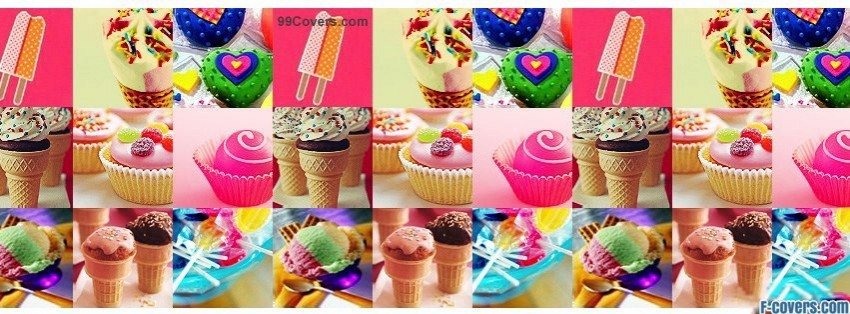 candy and dessert collage facebook cover