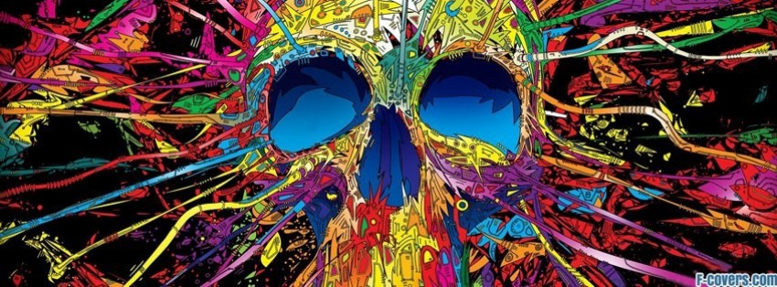 colorful abstract skull facebook cover
