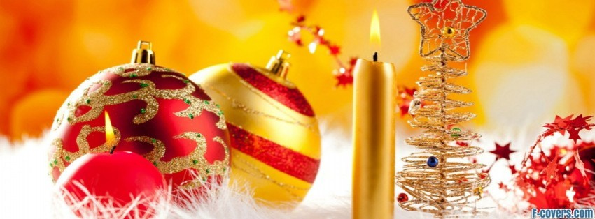 colorful christmas decorations facebook cover