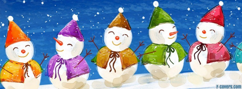 colorful christmas snowman facebook cover
