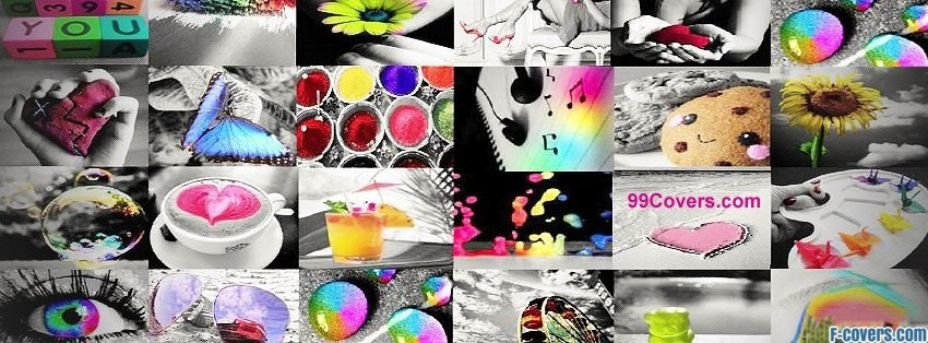 colorful collage facebook cover