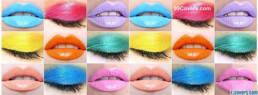 colorful makeup collage facebook cover