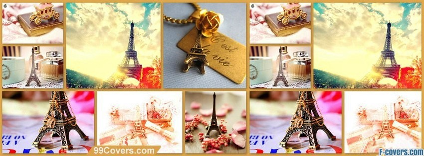 colorful paris collage facebook cover