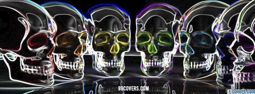 colourful skulls facebook cover