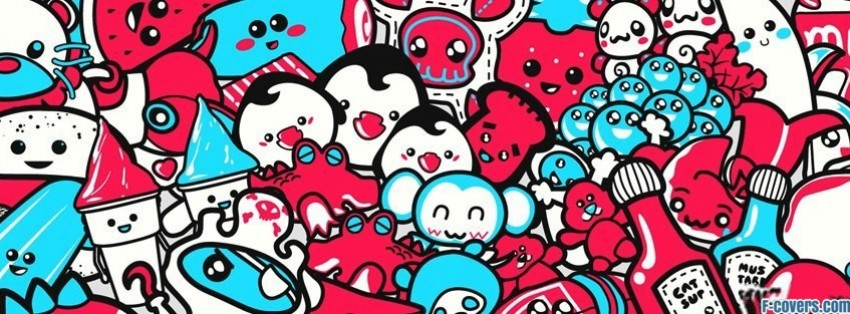 cute anime doodles Facebook Cover timeline photo banner for fb Cute Anime Facebook Covers
