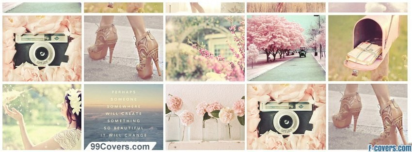 cute girly collage facebook cover