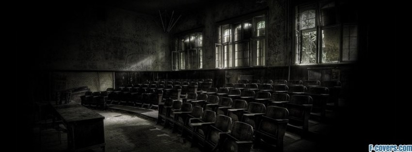 dark vintage abandoned classroom facebook cover