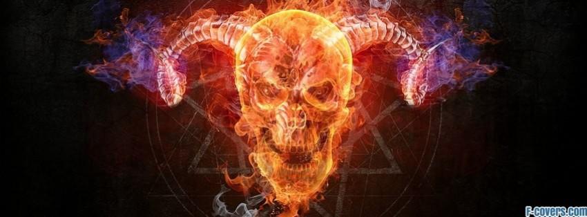 demon fire skull facebook cover