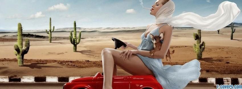 fashion woman face dog facebook cover