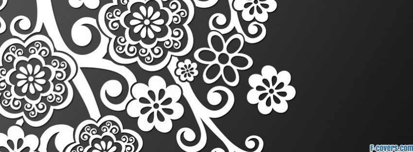 floral grey white shadow facebook cover