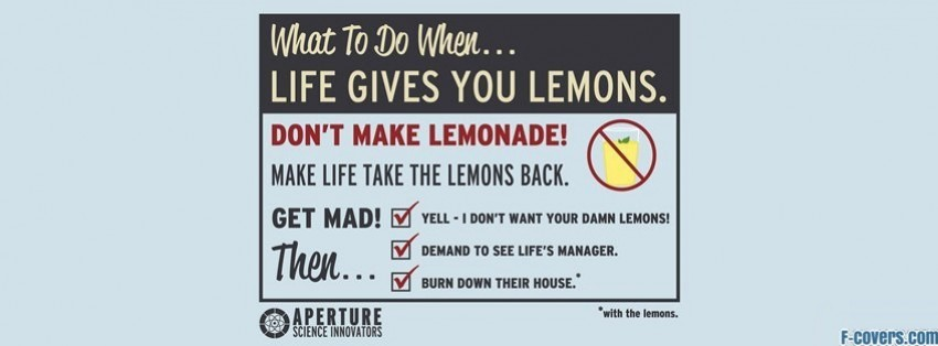 Funny Life Lemons Quote Facebook Cover Timeline Photo Banner For Fb