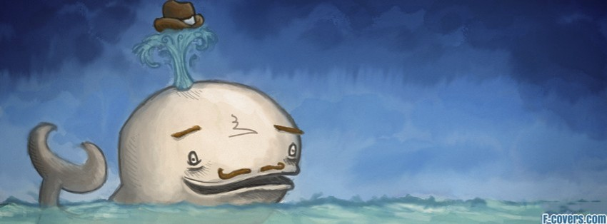 funny mustache whale art facebook cover