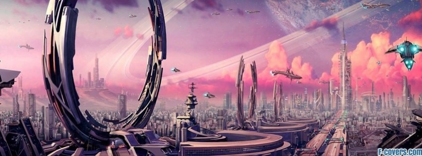 futuristic fantasy art facebook cover