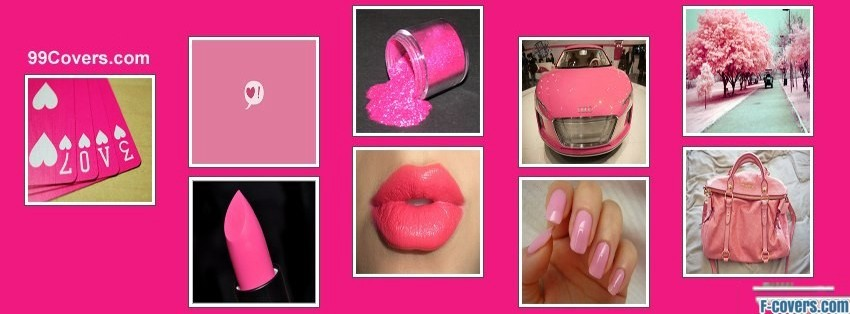 girly hot pink collage facebook cover