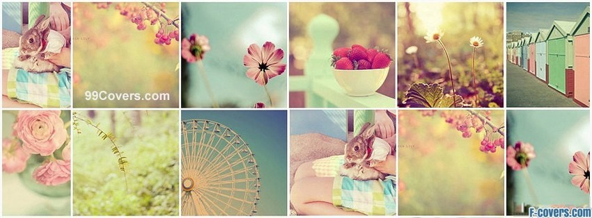 girly pastel collage facebook cover