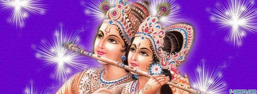god radha krishna in purple facebook cover
