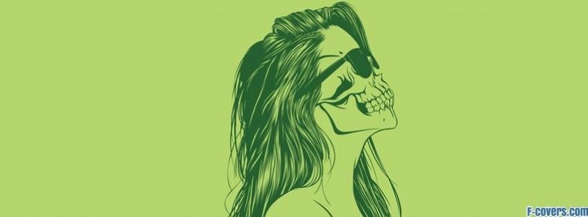 green girl skull facebook cover