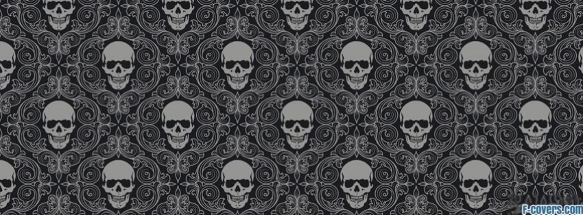 grey and black skulls facebook cover