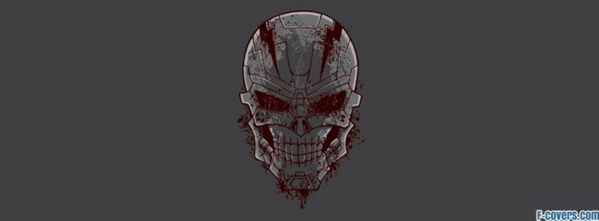 grey and red skull artwork facebook cover