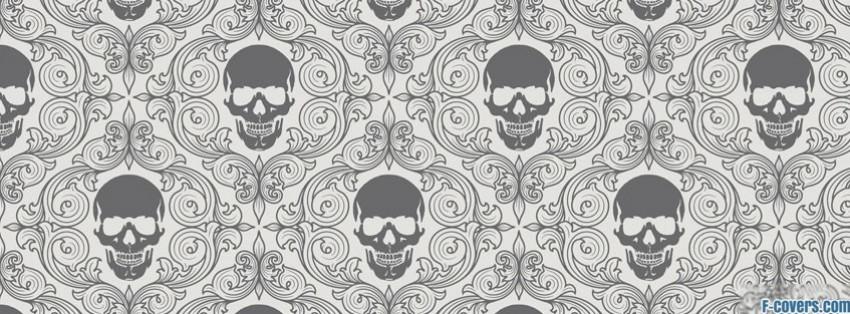 grey white skulls facebook cover