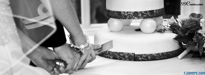 groom and bride cut wedding cake facebook cover