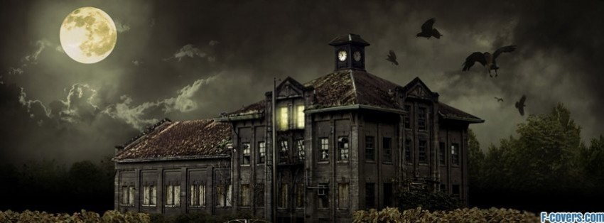 halloween scary house facebook cover - Halloween Facebook Banners