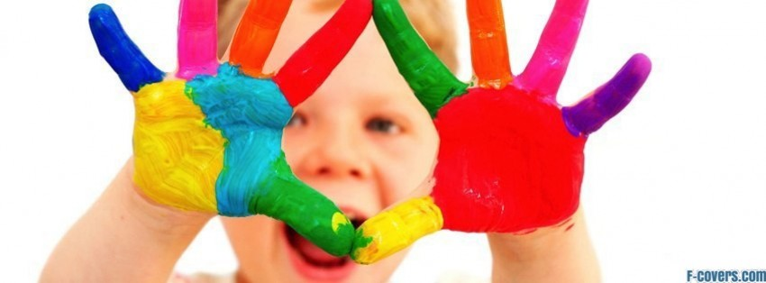 happy boy finger paint facebook cover