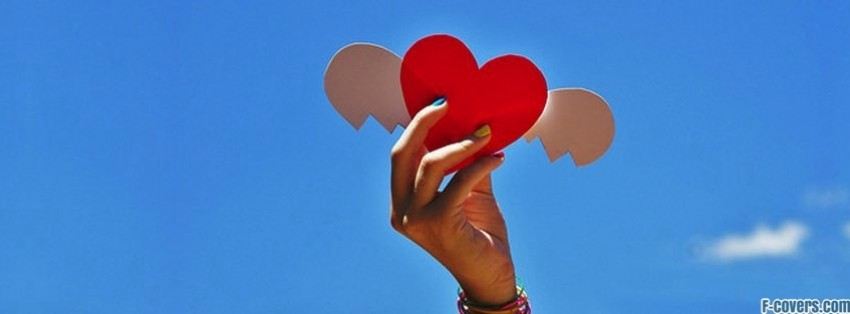 heart wings sky facebook cover