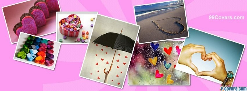 hearts collage facebook cover