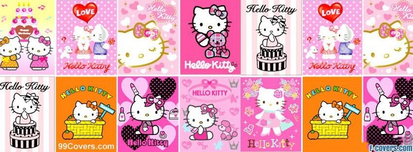 hello kitty collage facebook cover