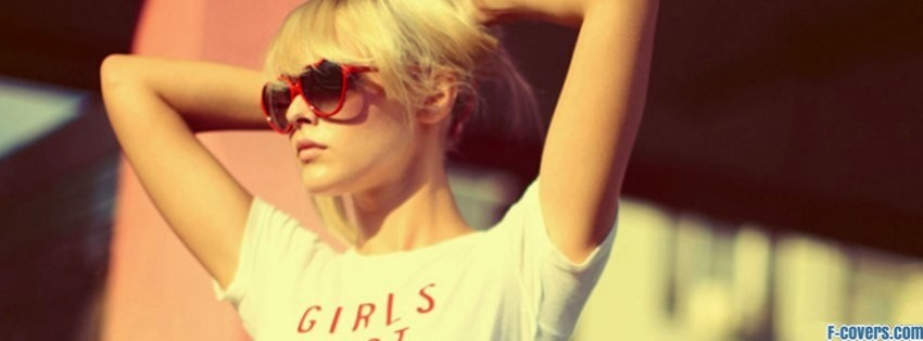 hipster blonde woman with sunglasses facebook cover