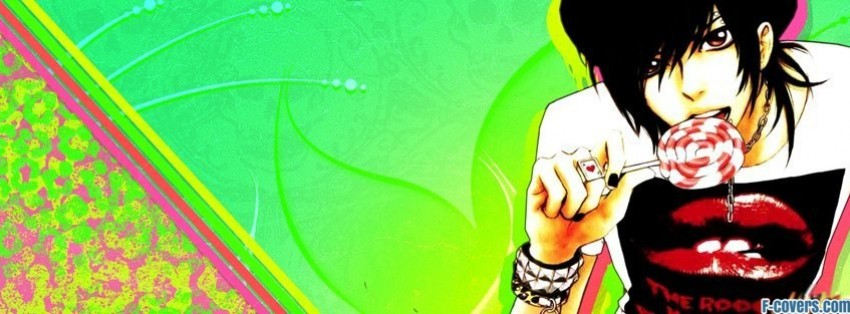 hipster emo anime boy with candy facebook cover