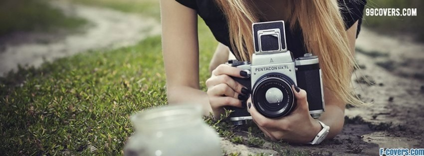 hipster girl slr camera facebook cover