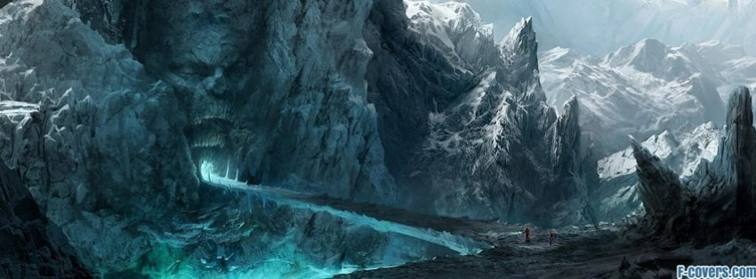 ice mountains fantasy art facebook cover