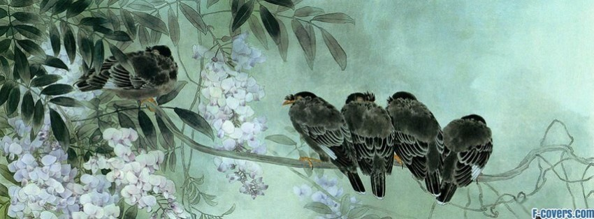 japanese art black birds facebook cover