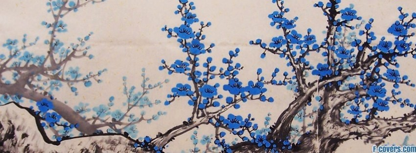 japanese art blue blossoms facebook cover