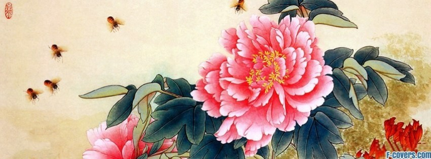 japanese art flower facebook cover